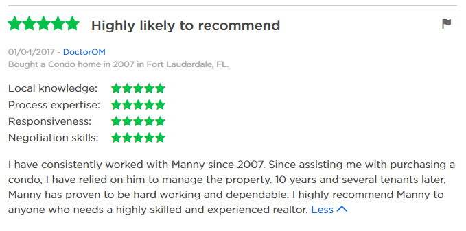 Zillow Review Manny SOld